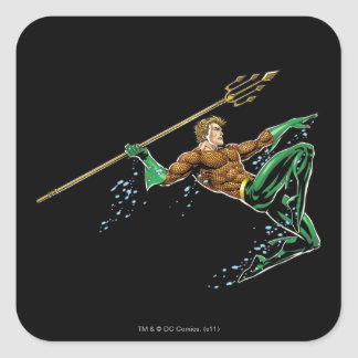 Aquaman Lunging with Spear Square Sticker