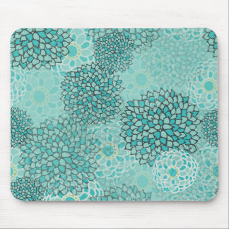 Aquamarine and Mint Flower Burst Mouse Pad