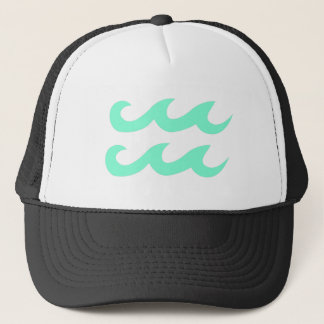 Aquamarine Aquarius Zodiac Symbol Trucker Hat