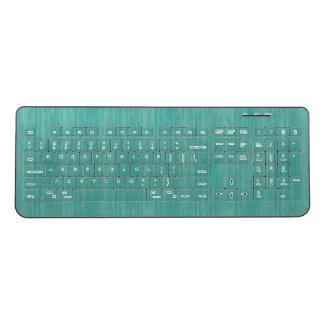 Aquamarine Bamboo Wood Grain Look Wireless Keyboard