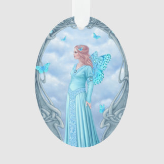 Aquamarine Birthstone Fairy Oval Ornament