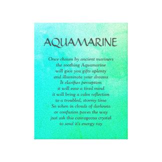 Aquamarine birthstone - March poem art canvas