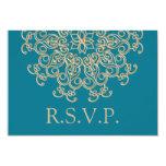 AQUAMARINE BLUE AND GOLD INDIAN RESPONSE RSVP CARD 9 CM X 13 CM INVITATION CARD