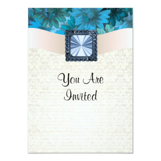 Aquamarine blue floral and cream damask card
