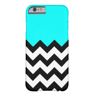 Aquamarine-Blue-On-Black-&-White-Zigzag-Pattern Barely There iPhone 6 Case