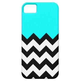 Aquamarine-Blue-On-Black-&-White-Zigzag-Pattern iPhone 5 Case