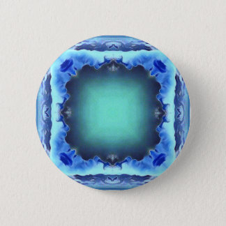 Aquamarine Blue Personalizable Framed Pattern 6 Cm Round Badge