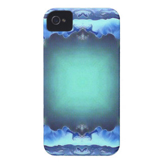 Aquamarine Blue Personalizable Framed Pattern Case-Mate iPhone 4 Cases