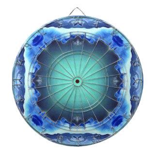 Aquamarine Blue Personalizable Framed Pattern Dartboard With Darts