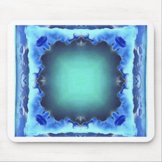 Aquamarine Blue Personalizable Framed Pattern Mouse Pad