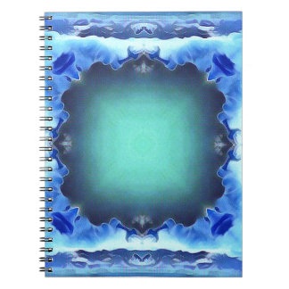 Aquamarine Blue Personalizable Framed Pattern Notebook
