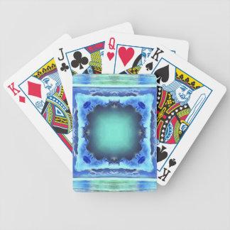 Aquamarine Blue Personalizable Framed Pattern Poker Deck