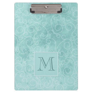 Aquamarine Blue Swirly Abstract Clipboard