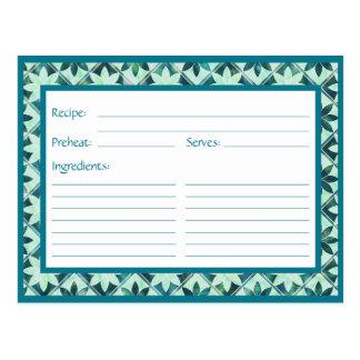 Aquamarine Decorative Floral Tiles Recipe Card