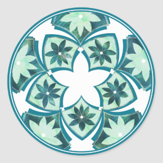 Aquamarine Decorative Floral Tiles Sticker