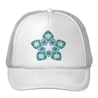 Aquamarine Decorative Floral Tiles Trucker Hat