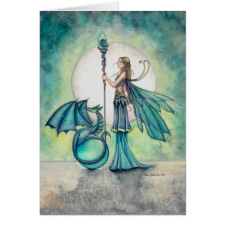 Aquamarine Dragon and Fairy Fantasy Art Card