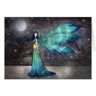 Aquamarine Eve Fantasy Fairy and Moon Art Card