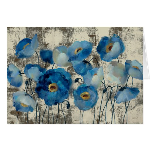 Aquamarine Floral Greeting Cards