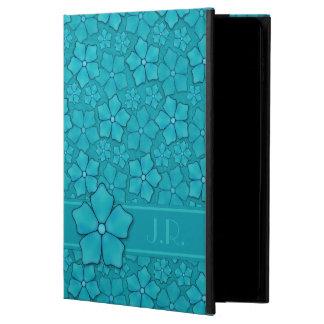 Aquamarine flower petals Monogram Initials Powis iPad Air 2 Case