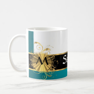 Aquamarine gold monogram coffee mug