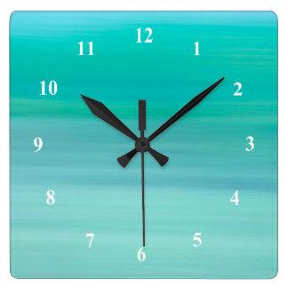 Aquamarine green and blue calm ocean square wall clock
