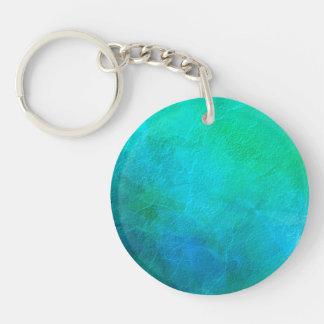 Aquamarine Green Blue Ice Abstract Art Key Ring