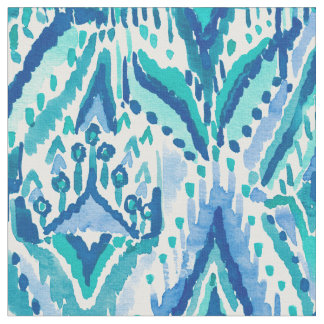 Aquamarine Ikat Fringe Tribal Watercolor Fabric