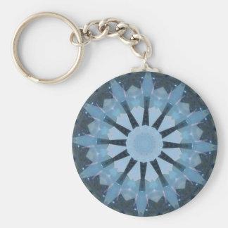 Aquamarine Kaleidoscope Basic Round Button Key Ring