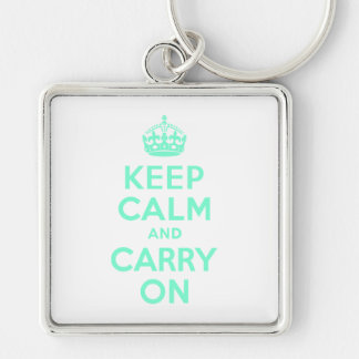 Aquamarine Keep Calm and Carry On Key Ring