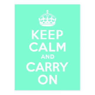 Aquamarine Keep Calm and Carry On Postcard