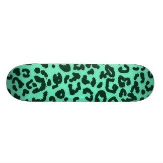 Aquamarine Leopard Animal Print Custom Skate Board