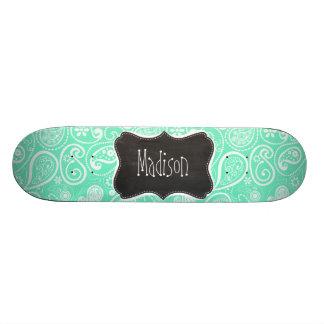 Aquamarine Paisley; Retro Chalkboard Skate Board Deck