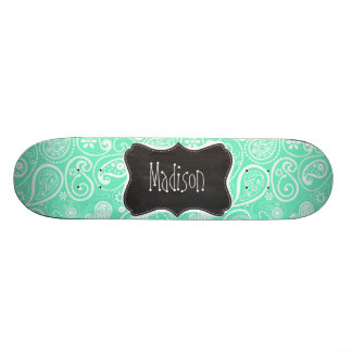 Aquamarine Paisley; Retro Chalkboard Skate Boards