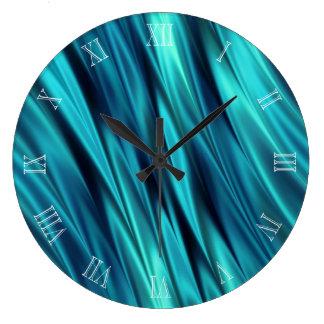 Aquamarine silky waves clocks