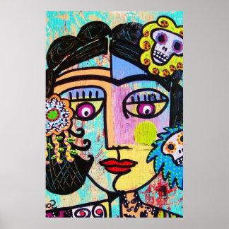 Aquamarine Sugar Skull Mexican Woman Poster