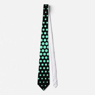 Aquamarine Techno Dots Modern Black Tie