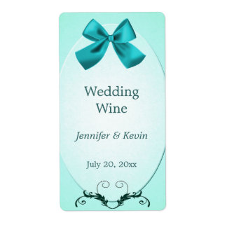 Aquamarine Wedding Wine Label Shipping Label