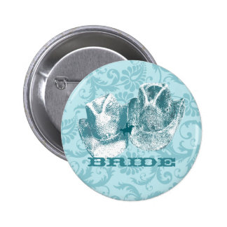Aquamarine Western Vintage Weddings 6 Cm Round Badge