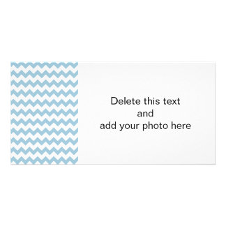 Aquamarine White Chevron Pattern Photo Card