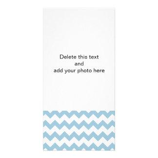 Aquamarine White Chevron Pattern Photo Card