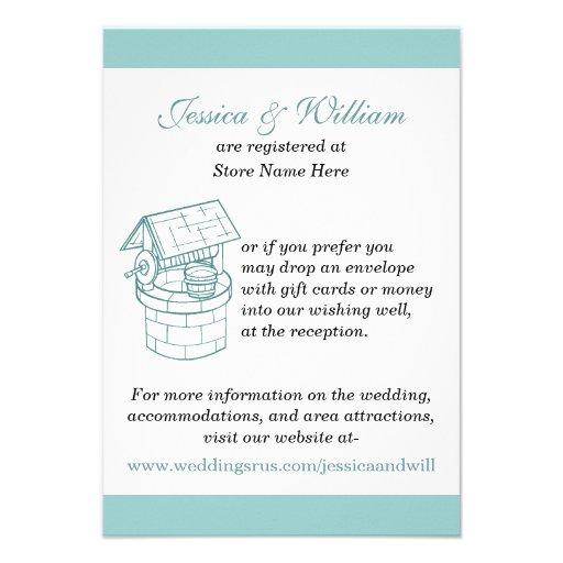 Aquamarine & White Wedding Wishing Well Card
