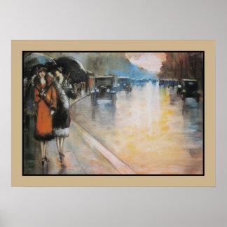 Aquarelle Berlin street in the rain Poster