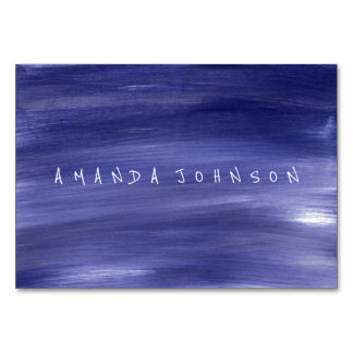 Aquarelle Black White Blue Delicate Painted Table Card