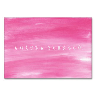 Aquarelle Pink Candy Painted Name Table Cards