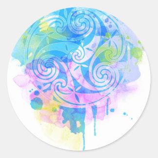 Aquarelle triskel classic round sticker