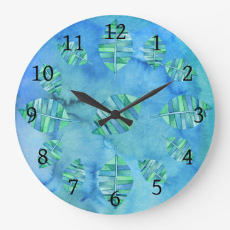 Aquarelle Tropic Water Leaf Clock