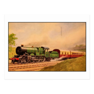 Aquarelle vintage locomotive Caerphilly Class Postcard