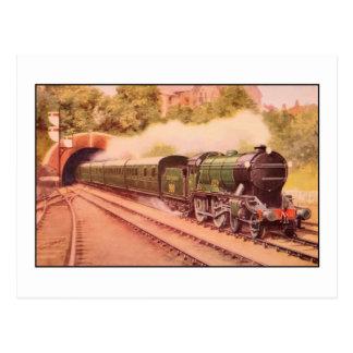 Aquarelle vintage locomotive Eton Postcard