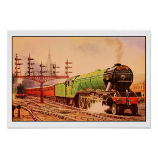 Aquarelle vintage locomotive Flying Scotsman Poster